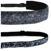 Mavi Bandz Adjustable Non-Slip Fitness Headbands Charcoal Sparkle Glitter 2 Pack
