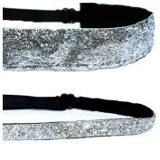 Mavi Bandz Adjustable Non-Slip Fitness Headbands Silver Sparkle Glitter 2 Pack