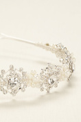Crystal Medallion Headband with Pearl Accents Style H9093, Silver