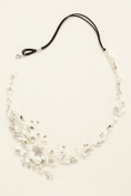 Wire Wrapped Crystal Floral Headband Style H9095, Silver
