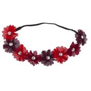 Lux Accessories Burgundy Violet Crystal Stone Floral Elastic Headwrap Headband