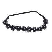 Lux Accessories Black Chiffon Crystal Stone Floral Elastic Headwrap Headband