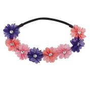 Lux Accessories Pink Peach Purple Crystal Floral Elastic Headwrap Headband