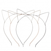 Lux Accessories Tri Colour Wire Cat Ears Headband Multi Pack Set