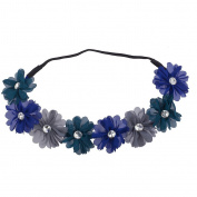 Lux Accessories Teal Blue Grey Crystal Stone Floral Elastic Headwrap Headband