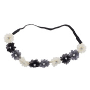 Lux Accessories Black Ivory Grey Crystal Stone Floral Elastic Headwrap Headband