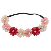 Lux Accessories Pink Peach Red Crystal Stone Flower Floral Headwrap Headband