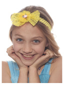Smiles all Around Lace Bow Headband for Girls, Yellow