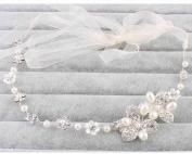 Rhinestone Crystal Pearl Flower Wedding Bridal Headband Hair Vine with Ivory Organza Belt