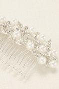 Floral Motif Pearl Accent Comb Style 139126HC, Crystal