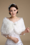 CIMC LLC Women's Luxury Wedding Winter Faux Fur Tassel Wedding Bridal Shawl Wrap Shrug Bolero Cape
