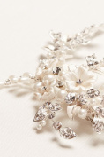Porcelain Hair Clip with Pearls and Rhinestones Style C9103, Silver