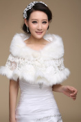 CIMC LLC Women's Luxury Wedding High-end Faux Fur Hollow Lace Wedding Bridal Shawl Wrap Bridal Shrug Formal Party Bolero