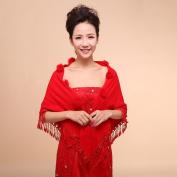 CIMC LLC Women's Fashion Elegant Faux Fur Triangle Wool Long Wedding Bridal Shawl Wrap Bridal Shrug Formal Party Bolero