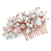 Mariell Couture Bridal Hair Comb with Hand Painted Rose Gold Leaves, Freshwater Pearls and Crystals