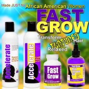 Grow Hair Longer with Fast Grow Black Hair Growth Vitamins, Emu Oil Shampoo, Conditioner and Fast Hair Growth Oil for Faster Growing Hair by Fast Grow