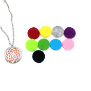 "Stainless Steel Aromatherapy Perfume Essential Oil Diffuser Necklace Locket Pendant with 10 Refill Pads and 24"" Chain"