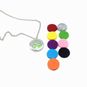 """Stainless Steel Aromatherapy Perfume Essential Oil Diffuser Necklace Locket Pendant with 10 Refill Pads and 24"""" Chain"""