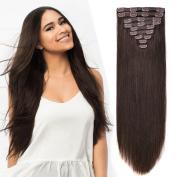 50cm Clip in Hair Extension Human Hair Extensions Clip on for Fine Hair Full Head Dark Brown #2 10pieces 140grams140ml