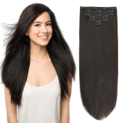 46cm Clip in Extension Human Hair Clip Extensions Remy Hair Double Weft Off Black #1B 7pieces 105gram110ml