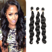 Fabeauty 7A Grade Human Hair Loose Wave 3 Bundles 100% Unprocessed Brazilian Virgin Hair Natural Black Mixed Length