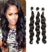 Fabeauty 7A Grade Human Hair Loose Wave 3 Bundles 100% Unprocessed Brazilian Virgin Hair Natural Black Mixed Length