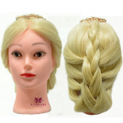 Neverland Professional 60cm 50% Real Human Hair Training Head With Free Clamp For College and Professional Use Blonde #613