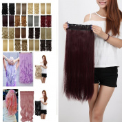 Wine Red Long Straight 3/4 Full Head One Piece Clip in Hair Extensions 5 Clips 60cm