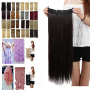 60cm DARK BROWN Long Straight 3/4 Full Head One Piece Clip in Hair Extensions 5 Clips 60cm 140G