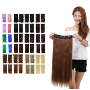 Light Brown Long Straight 3/4 Full Head One Piece Clip in Hair Extensions 5 Clips 60cm