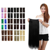 70cm Clip In Women Dark Black One Piece Full Head Hairpiece Synthetic Straight/Curly Hair Extensions Hair Wig 5Clip