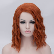 "The Avengers Black Widow Natasha Costume Cosplay Wig Short Central Parting Wavy Fluffy Hair Lolita Halloween Cosplay Costume Wig 16"" 40CM"