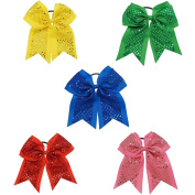 CN 5pcs 18cm Big Girls Sequin Cheer Bows Grosgrain Ribbon Cheerleader Hair Bow with Elastic Tie
