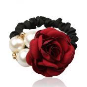 Cfalaicos Mercery Rose Flower Ponytail Holders / Hair Ring / Hair Rope / Hair Bands for Girl / Women Hair Accessories