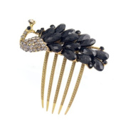 Antique Brass Rhinestone Peacock French Twist Comb Black