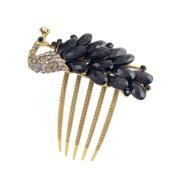 Antique Brass Rhinestone Peacock French Twist Comb Black