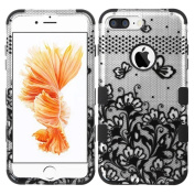 MyBat TUFF Hybrid Protector Cover for iPhone 7 Plus - Black Lace Flowers (2D Silver)/Black