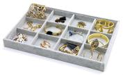 PuTwo Drawer Organiser Jewellery Holder Jewellery Organiser 12 Sections Lint Jewellery Box - Grey
