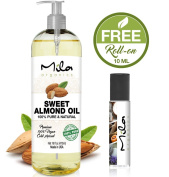 SWEET ALMOND OIL - VITAMIN E OIL FOR SKIN, HAIR, Massage, Aromatherapy, Essential Oil, Sweet Almond Oil Cold Pressed 470ml by Mila Organics + 1 Roll-On