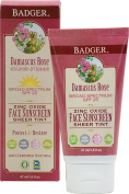 Badger Balm Spf25 Tinted Rose Face Sunscreen Lotion, 45ml