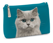 Catseye Cosmetic Pouch - Blue Eyed Cat, Small
