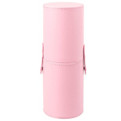 Travel Makeup Brush Cup Holder 23cm Height Leather Holder Perfect for Taking Travel Brushes - Pink