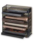 Acrylic Palette Organiser (Standard Sized Palettes) With Removable Dividers Contains 8+ Space Storage | byAlegory (Black Clear) Makeup Organiser