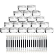 OR Pure 20 PCS New Empty Clear Portable Travelling Plastic Cosmetic Containers Empty Clear 5 Gramme Plastic Pot Jars with 20 Double Head Brush