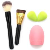 Professional Powder Brush, Flat Contour Makeup Brush, 2 MakeUp Sponge Egg Blender, Glove MakeUP Brush Cleaner Washing Scrubber Board by Sinsun