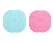 TIAMALL Makeup Brush Cleaner Brush Cleaning Mat Silicone Cleaning Pad Cosmetic Brush Mini Washing Scrubber with Suction Cup