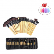 Mily 32 Pcs Bamboo Rod Makeup Brush Foundation Blending Blush Cosmetic Set Kit with Comestic Bag