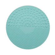 AENMIL Travel Size Makeup Brush Suction Cup Cleaning Mat Pad, Portable Circle Silicone Cosmetic Brushes Scrubber Washing Tool Fits Adults and Girls