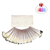 Mily Silver Rod Makeup Brush Cosmetic Set Kit with Beige Package 24 Piece