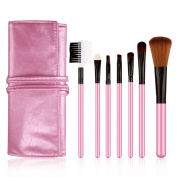 Passion-Beauty Professional Cosmetic Makeup 7pcs Brush Set Kit with Synthetic Leather Case,pink